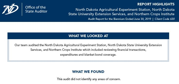 2019 ND Ag Experiment Stations, NDSU Ext Service and Northern Crops Institute - Highlights Page