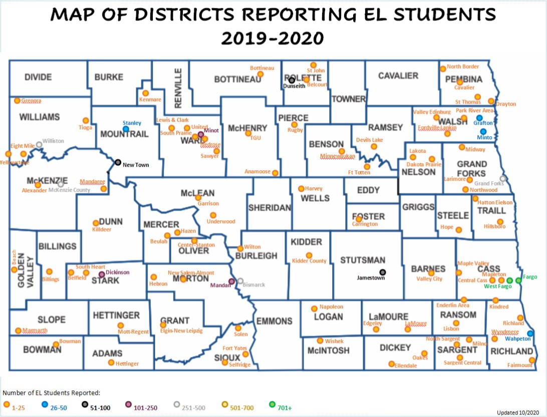 2019-20 Map of ND Districts Reporting EL Students