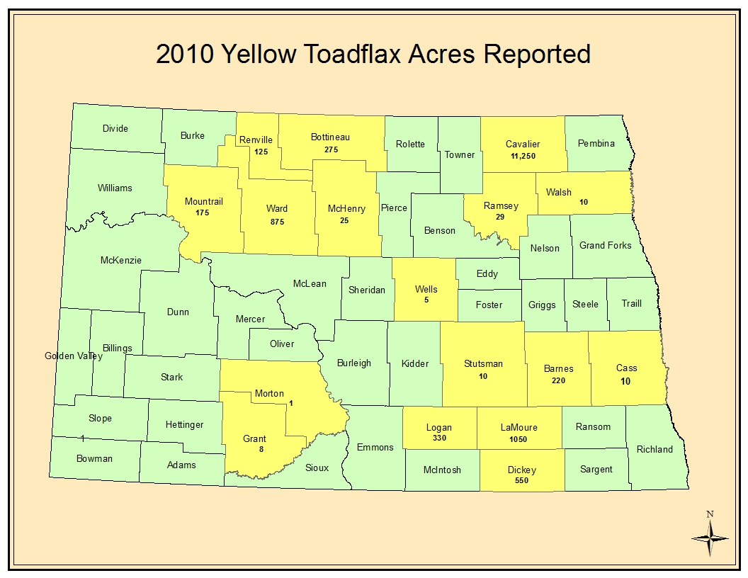 2010 Yellow Toadflax Acress Reported