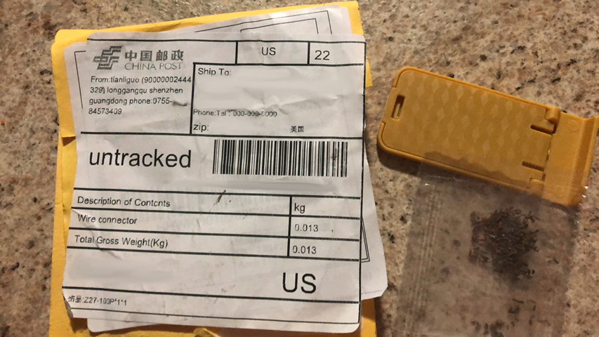 Example of an unsoliticed package of seeds that came from China