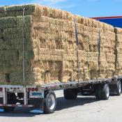 Hay bales loaded on a truck