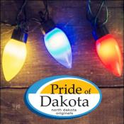 Holiday lights over Pride of Dakota logo